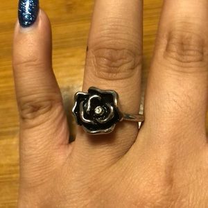 3 for $20/Rhinestone Flower Silver Size 7 Ring